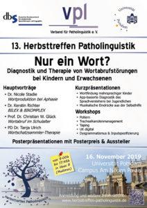 Poster des 13. Herbsttreffen Patholinguistik 2019